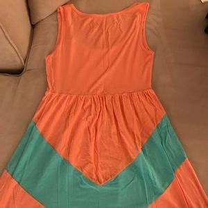 Fascination Dresses - Fascination Peach and Teal Dress